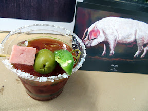 Portland Monthly's Country Brunch 2013, Bloody Mary Smackdown, Le Bistro Montage Steve Dodge created the Bloody Miles with house-infused andouille sausage, Absolut vodka, horseradish, celery salt, lime, Worchestershrie, Tabasco, other spices and garnished with Spam