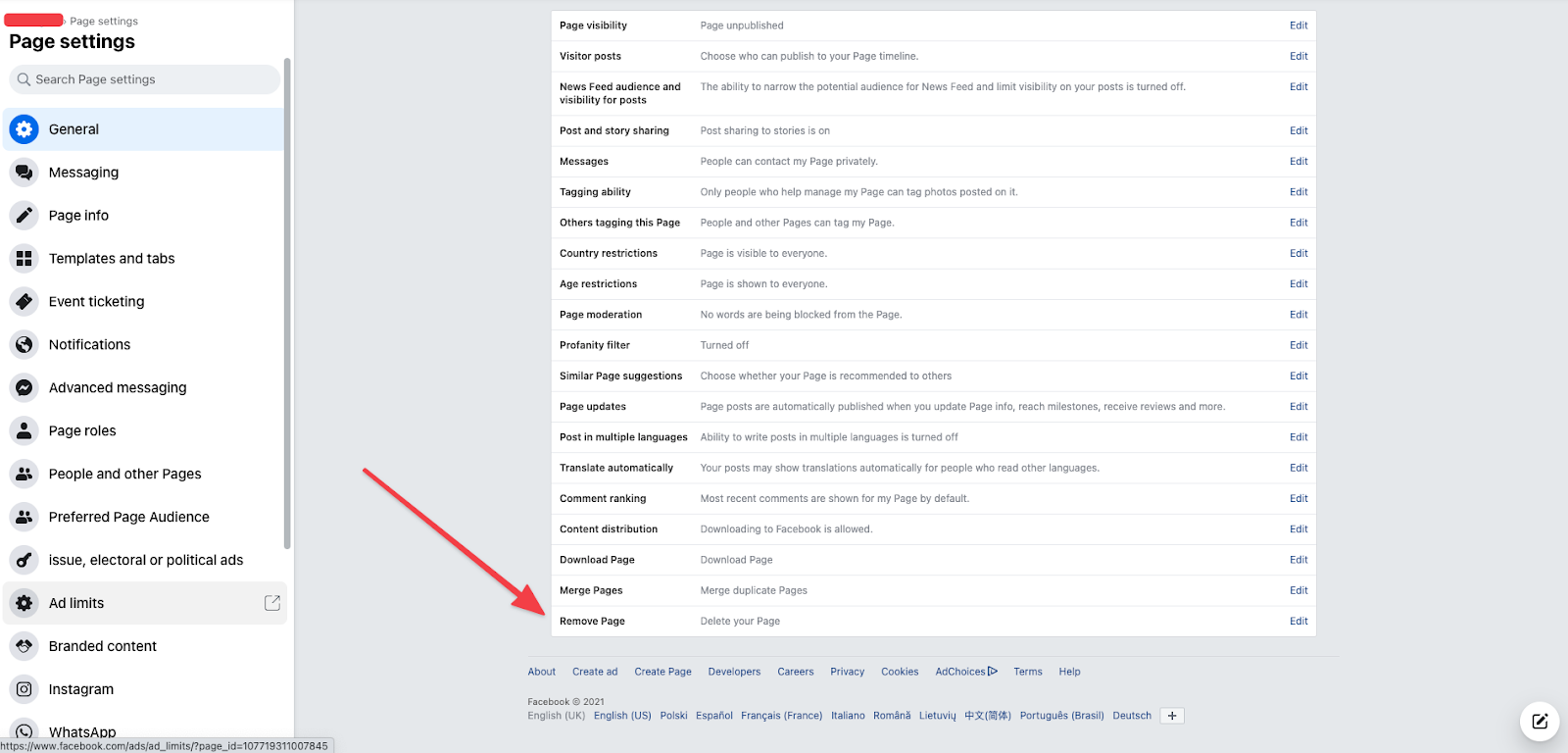 Screenshot of Facebook page deletion settings