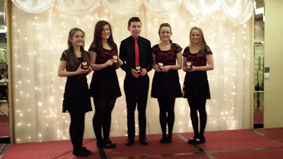 Caltra Scor Ballad Group (L to R Anna Moclair, Emma Burke, Stephen LAffey, Ashling Hynes and Caoimhe Ni Cheallaigh