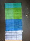Color swatching on a bamboo mat.