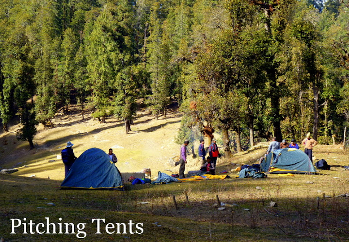 Kedarkantha trek pitching tents at Juda ka talab