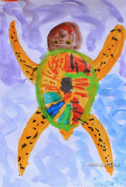 рисунок морская черепаха