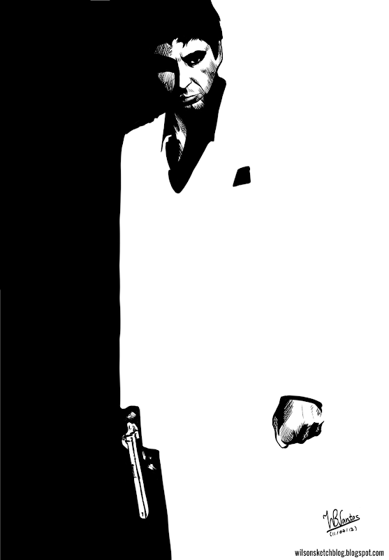 Scarface ink drawing, using Krita 2.5 Beta.