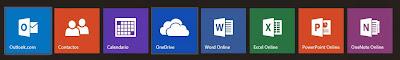Office Online con los nuevos botones en menú desplegable