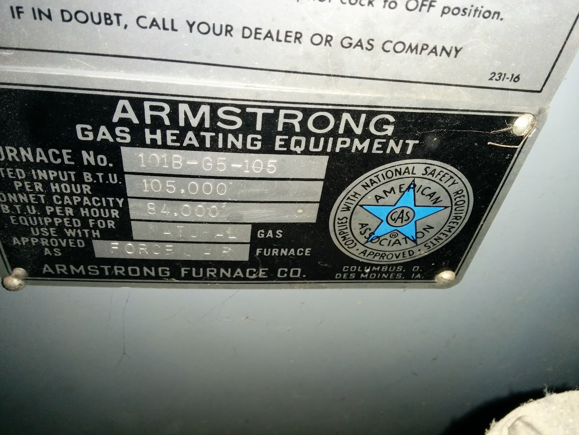 armstrong furnace age 40s era internachi inspection. Black Bedroom Furniture Sets. Home Design Ideas