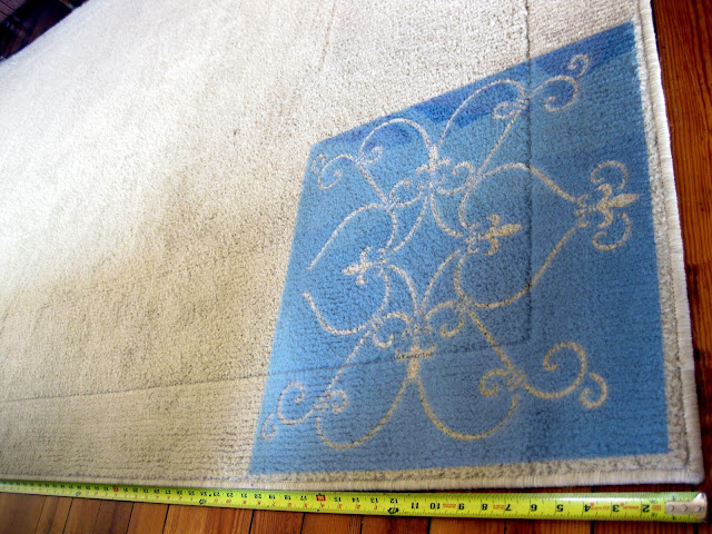 Measure out how many squares of the stencil you can fit on the carpet before starting your project