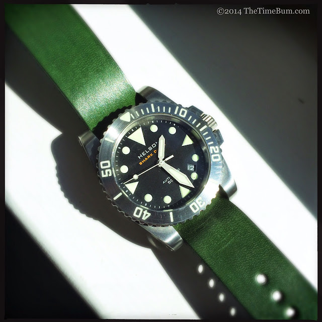 J Grant's General Store leather strap green Helson Shark Diver
