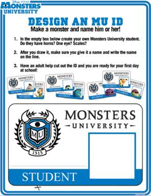 Disney/Pixar Monsters University Student ID Badge