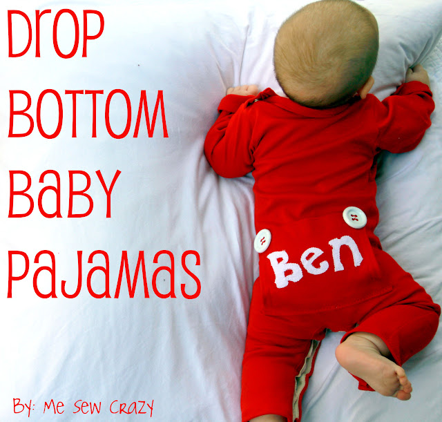 drop bottom baby pajamas diy