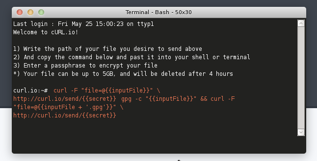 Curl.io: compartir archivos usando la terminal
