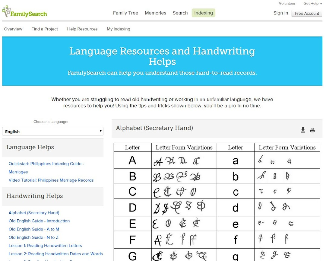 FamilySearch's Language Resources and Handwriting Helps