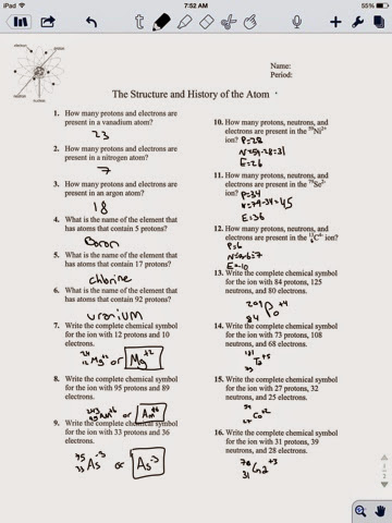 The Structure And History Of Atom Worksheet