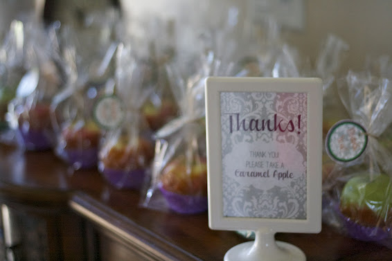 caramel apple baby shower favor