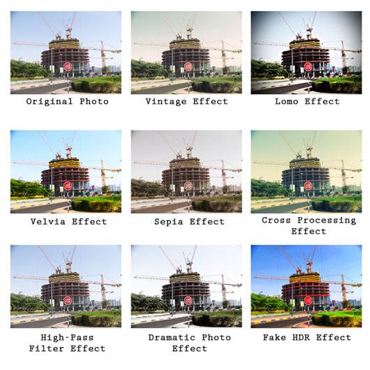 Diversos efeitos fotográfico actions