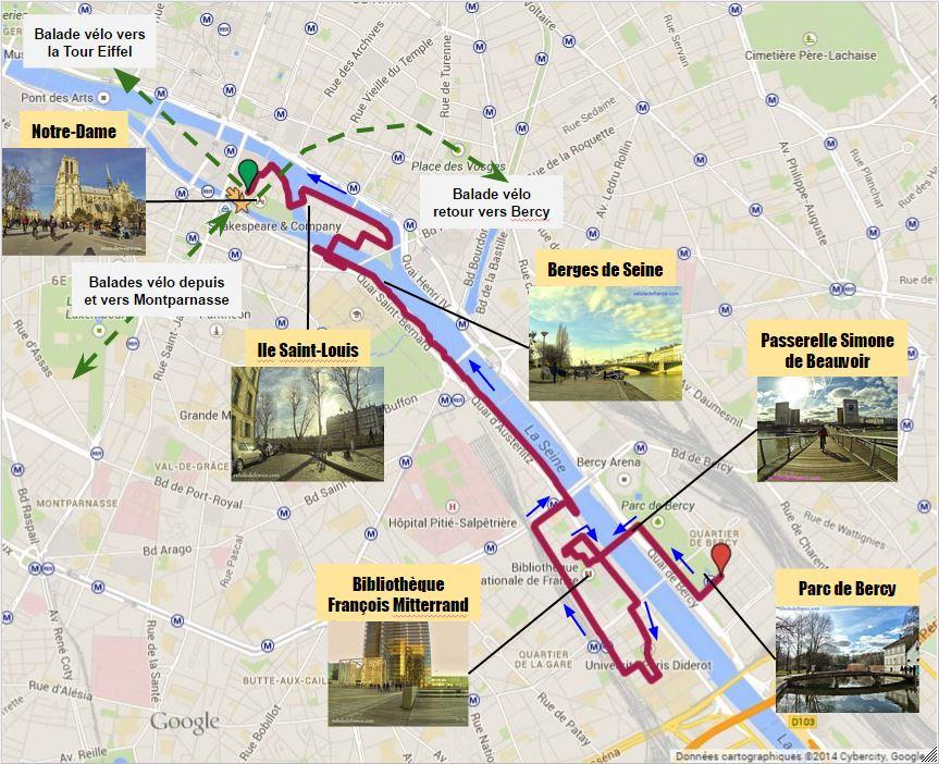 Tracé Circuit à vélo de Bercy Village à Notre-Dame par veloiledefrance.com