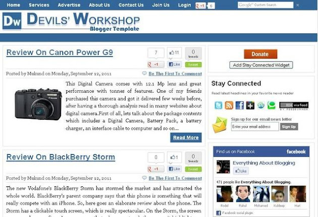 Devils Work Shop Blogger Template