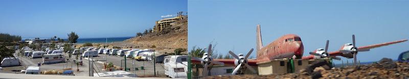 Bild von einer Wohnwagensiedlung und einem Flugzeugwrack
