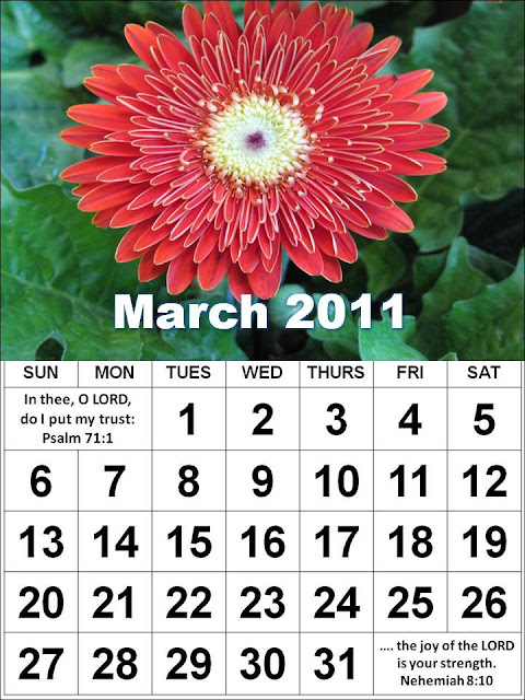 monthly calendar march. Christian March 2011 Calendar