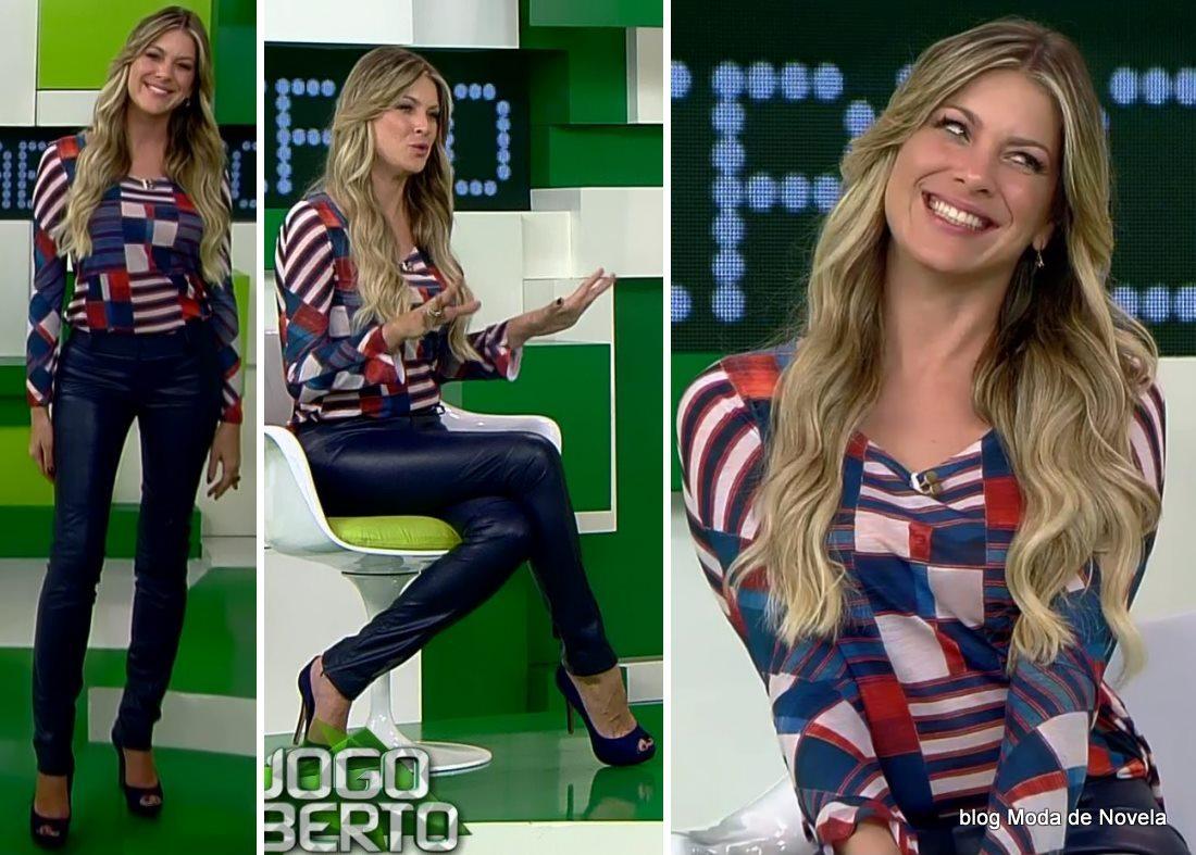 moda do programa Jogo Aberto - look da Renata Fan dia 16 de maio