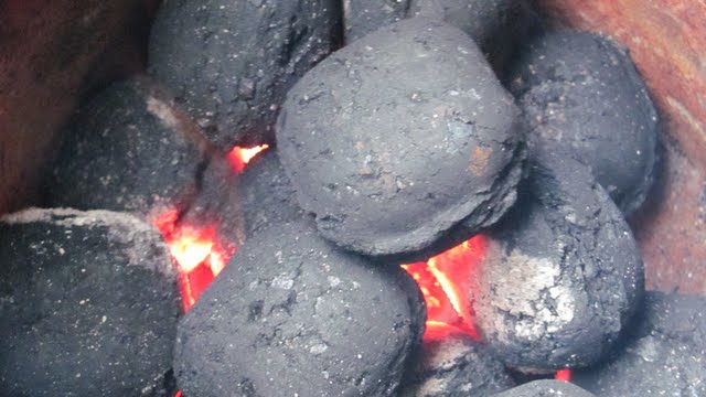 Getting the charcoal ready