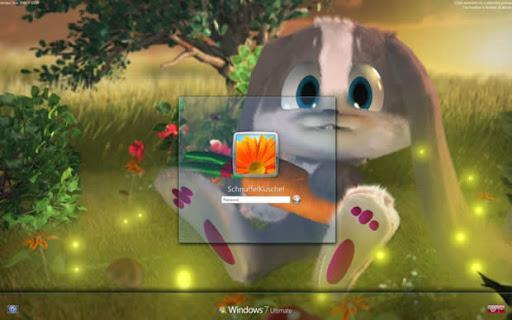 Windows 7 pantalla de inicio Bunny Logon