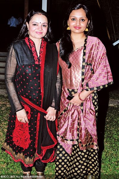 Radhika Tilak with a guest at the wedding reception of Singer Ranjini Jose and Ram Nair, held in Kochi.