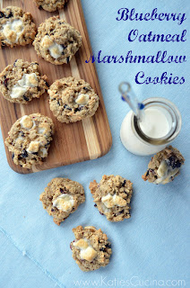 Blueberry Oatmeal Marshmallow Cookies from KatiesCucina.com