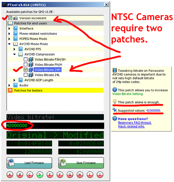 NTSC (USA) GH2 42Mbps firmware patch instructions