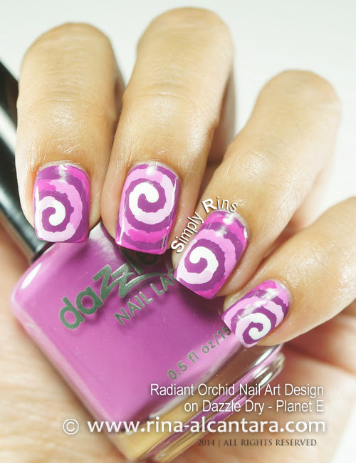 Radiant Orchid Nail Art on Dazzle Dry Planet E