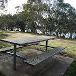 Picnic table at Three Mile Dam campsite