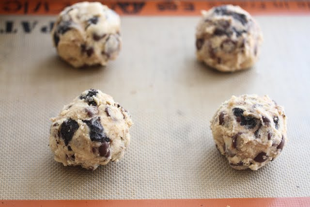 photo of the cookie dough balls on a silpat