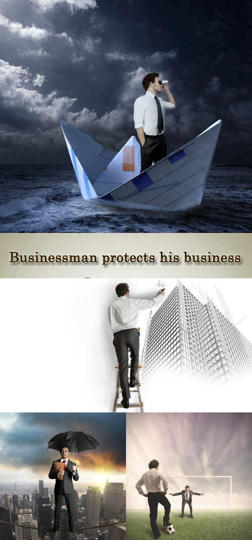 Stock Photo: Businessman protects his business