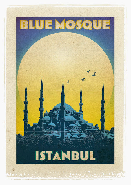 the blue mosque retro poster