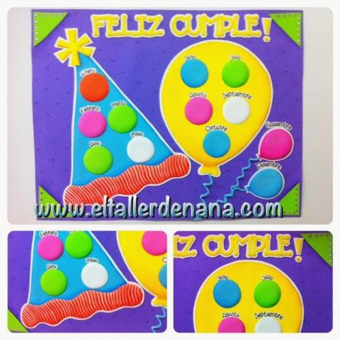 El Taller de Nana: Calendario de Cumpleaños - Aula de clase en Foami