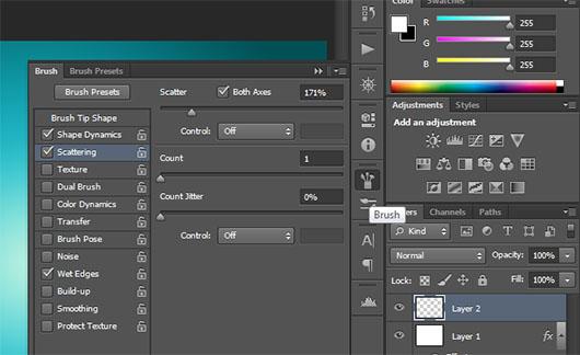 Janela de configurações do pincel no Photoshop