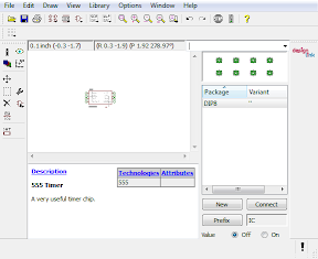 Creating a new IC device in CadSoft Eagle. The Symbol and Package have been added to the Device.