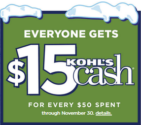 $15 Free Kohls cash coupon code Black Friday 2014
