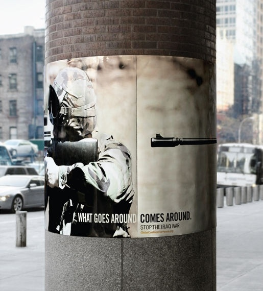 Stop Iraq War Poster - What Goes Around Comes Around