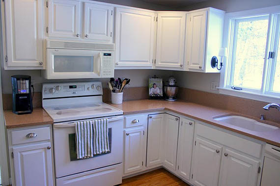 before and after white kitchen cabinets remodelaholic freshened up kitchen remodel around 9091