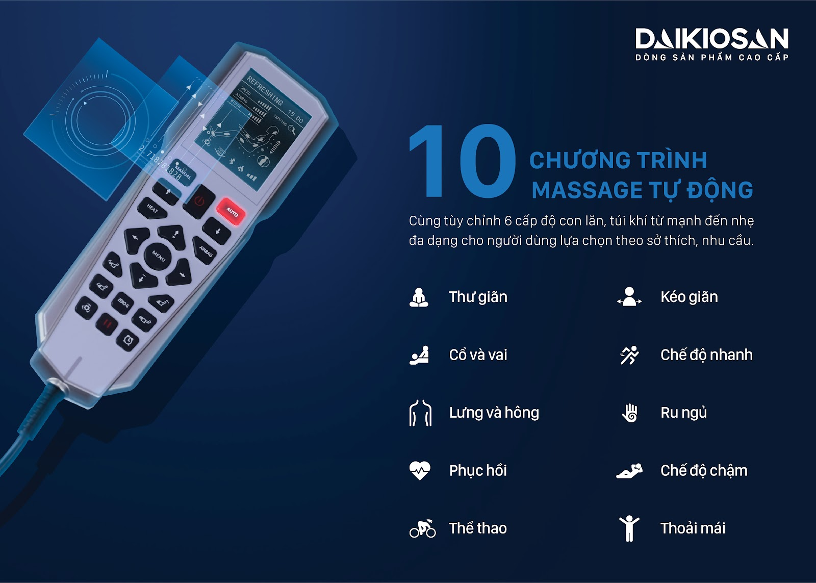 10 chương trình massage tự động
