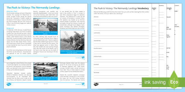 The Normandy Landings Differentiated Reading Comprehension: Remembrance Day 2019