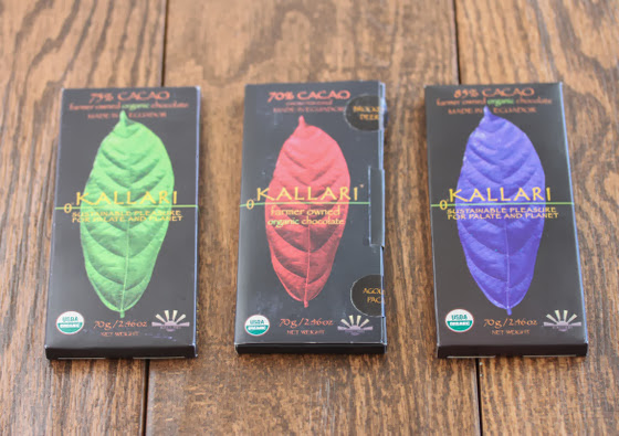 three packages of Kallari chocolates