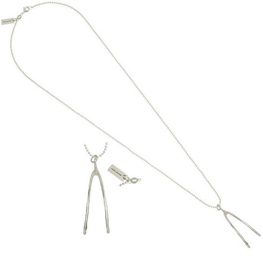 Marc by Marc Jacobs Wishbone Silver Plated Brass Charm Necklace
