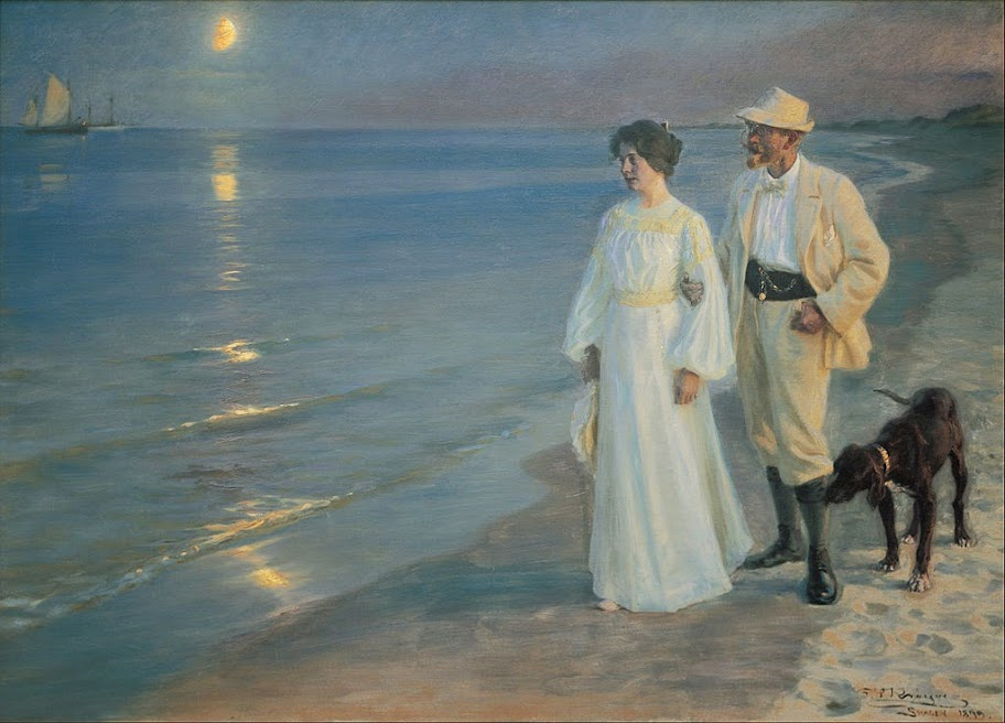 Peder Severin Krøyer - Summer evening on the beach at Skagen. The painter and his wife. - Google Art Project.