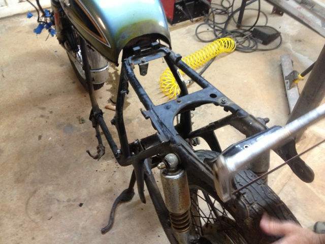 CB550 Motorcycle Build: Frame cutting.