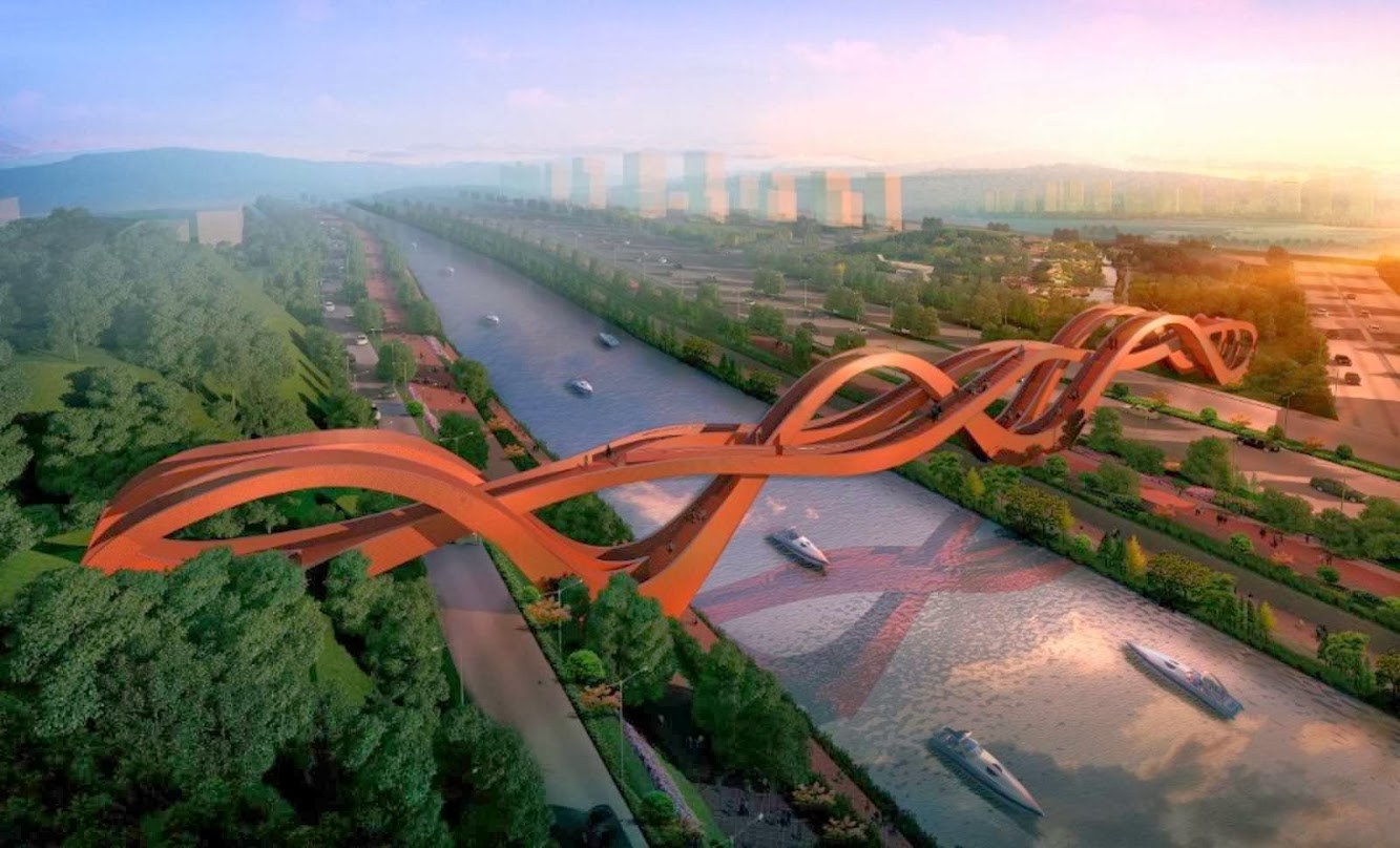 Changsha, Hunan, Cina: Next Wins Competition Pedestrian Bridge