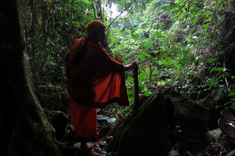 Monk K leading the way through the jungle
