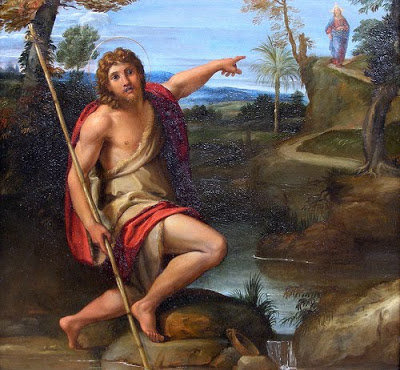 St. John the Baptist Bearing Witness - 'Behold, the Lamb of God' - by Annibale Caraccia (1560-1609)