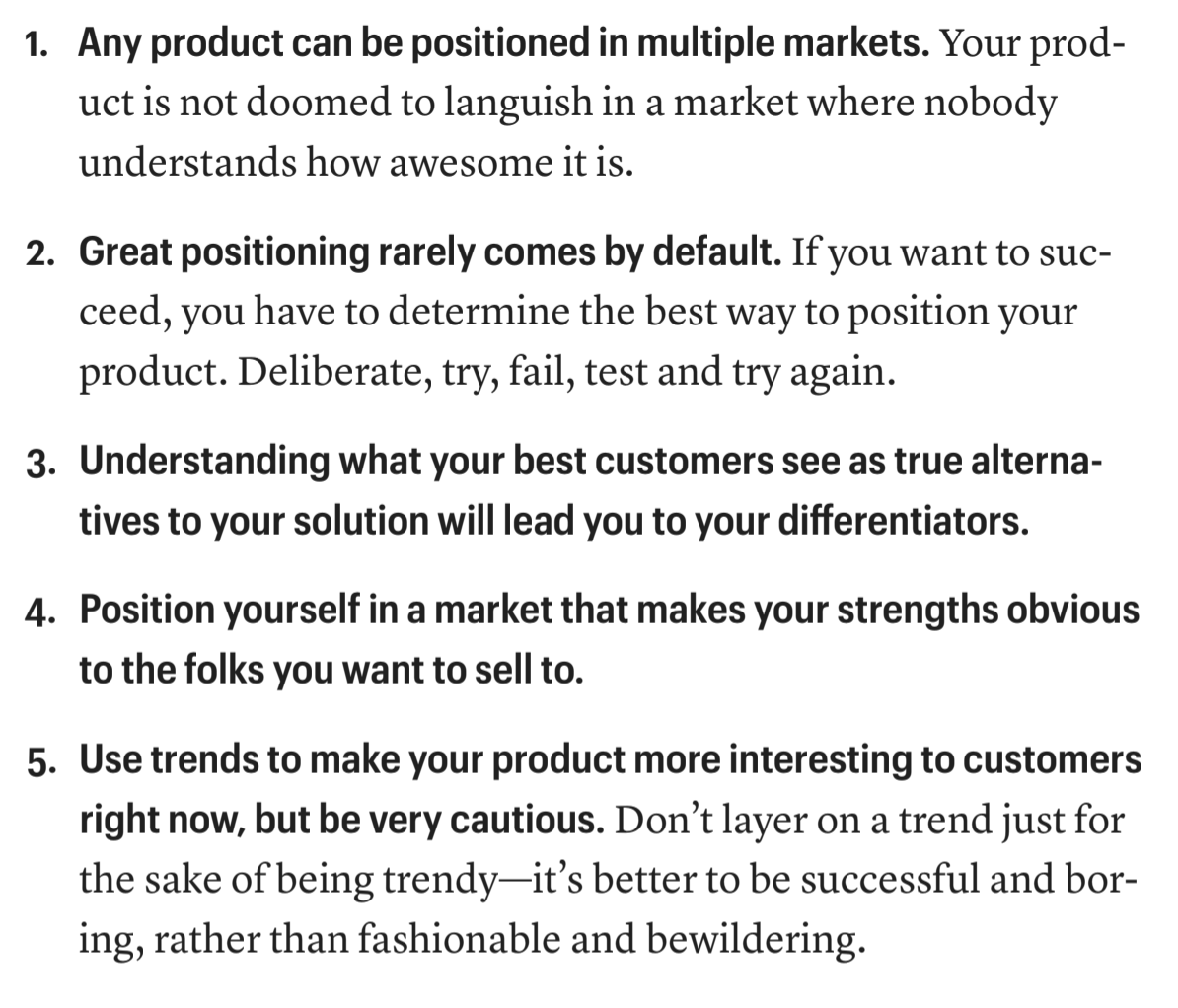 [Screenshot of the 5 principles of product positioning. Source: Obviously Awesome]