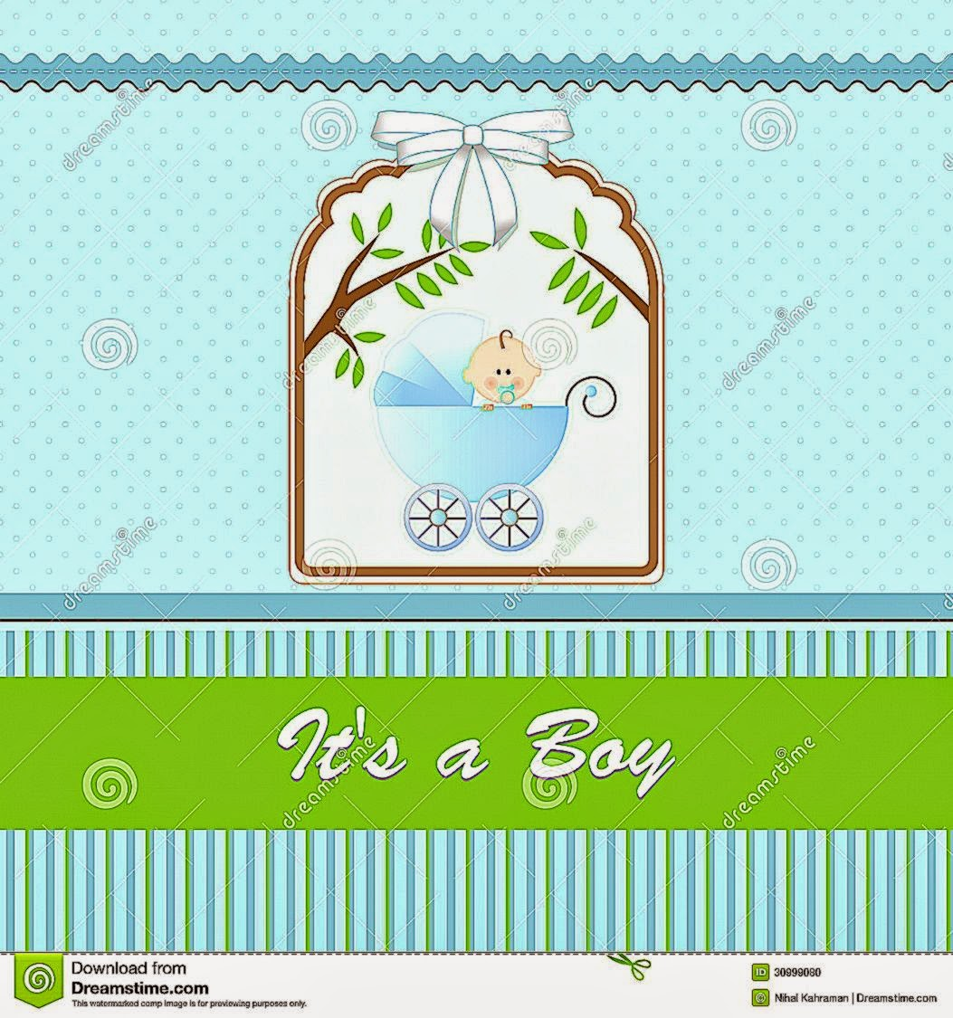 baby shower card for baby boy with stroller and blue green